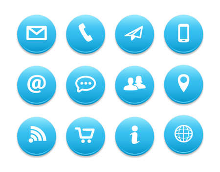 Contact Round Icons Vectores