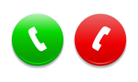 green and red: Call Green  Red Round Icons Illustration