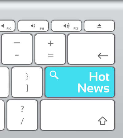 enter button: Hot News Enter Button Keyboard Illustration