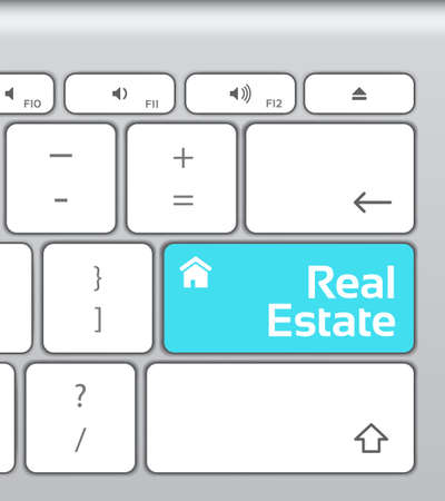 real: Real Estate Button Keyboard Illustration
