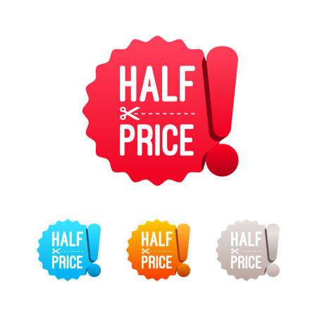 half: Half Price Labels Illustration