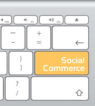 social commerce: Social Commerce Button Keyboard Illustration