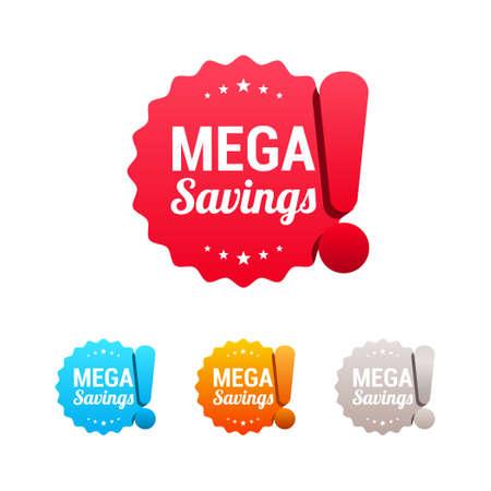 Mega Savings Labels Illustration