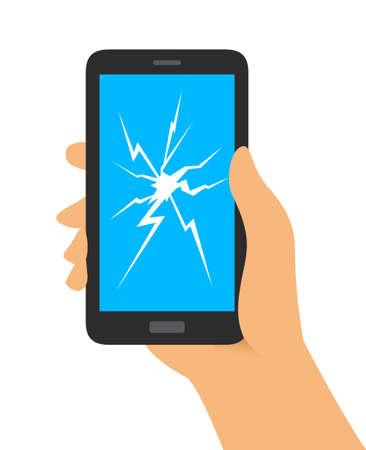 Hand Holding Broken Screen Phone Vectores