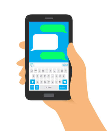 hands on keyboard: Hand Holding Phone with Keyboard Message