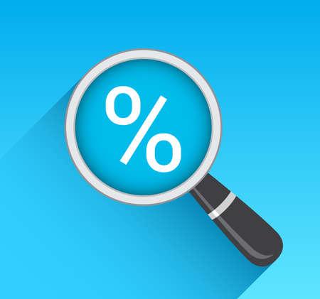 the percentage: Percentage Icon Magnifying Glass Illustration