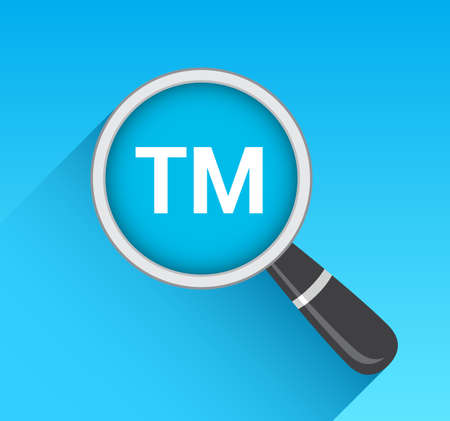 tm: Trademark TM Icon Magnifying Glass