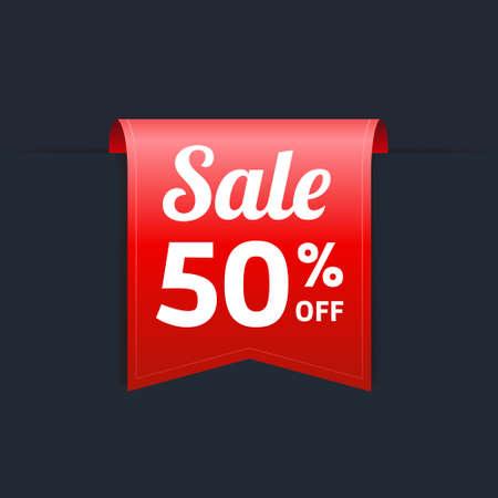 off on: Sale 50 Off Label Illustration