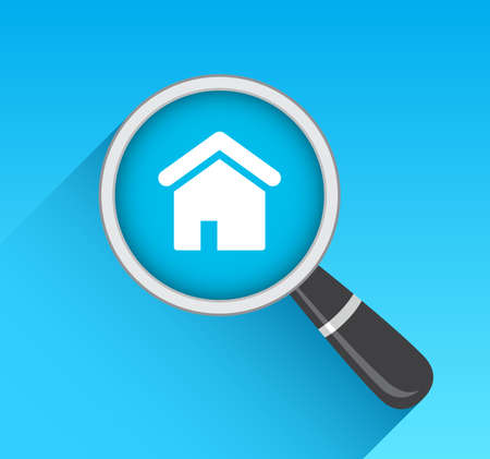 housing search: House Real Estate Icon Magnifying Glass Illustration