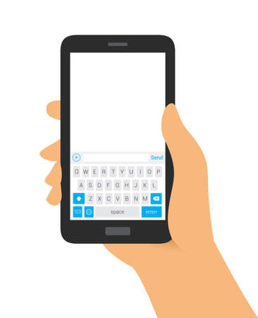 hand holding phone: Hand Holding Phone with Keyboard Illustration