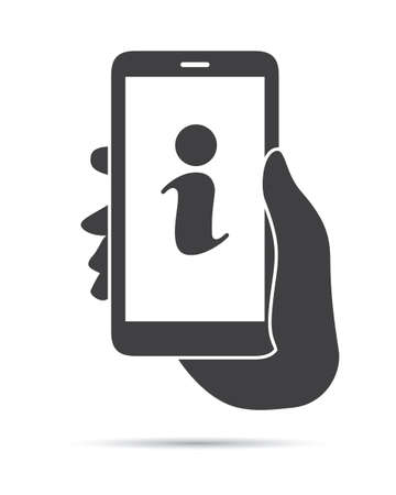hand holding phone: Hand Holding Phone Information Icon