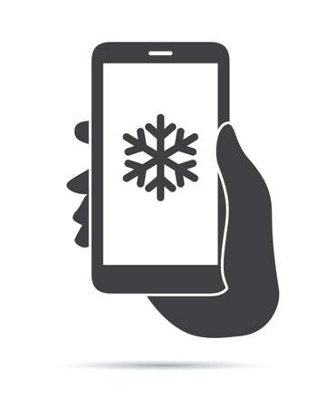 hand holding phone: Hand Holding Phone Snow Icon