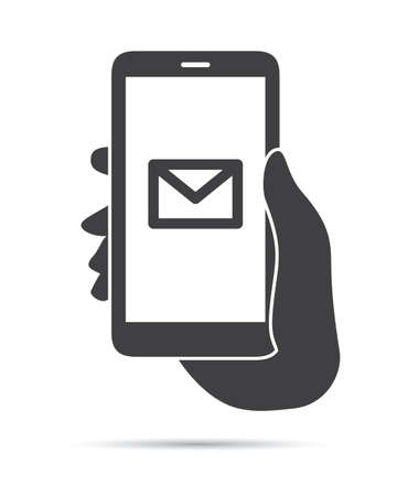 hand holding phone: Hand Holding Phone Mail Icon