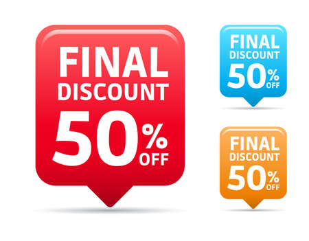store sign: Final Discount 50 Off Tags