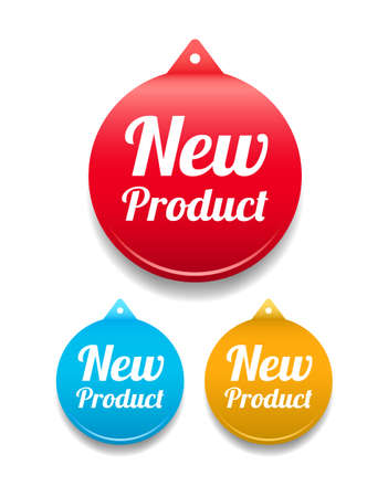 New Product Round Tag Vectores