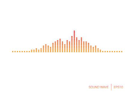 voice recorder: Sound Wave Red Square Vector Illustration