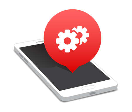 configuration: Phone Configuration, Support  Update Icon Bubble Illustration