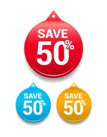 50: Save 50 Round Tag