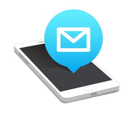correo electronico: Teléfono Icono de correo de la burbuja Vectores