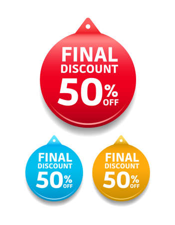 50 off: Final Discount 50 Off Round Tag Illustration