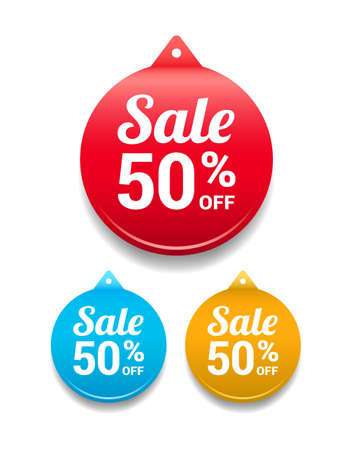 Sale 50 Off Round Tag Ilustrace