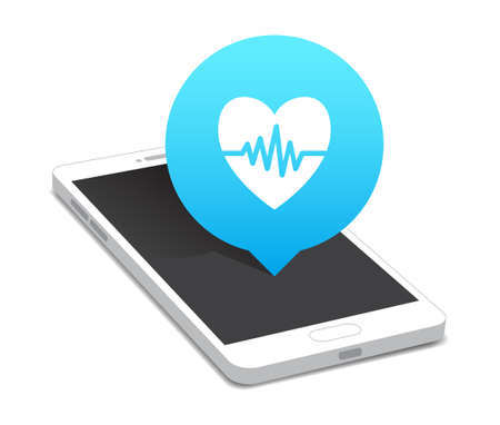 heart rate: Phone Heart Rate Icon Bubble Illustration