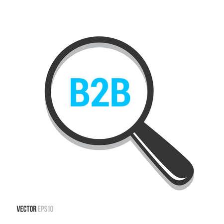 b2b: B2b Magnifying Glass Illustration