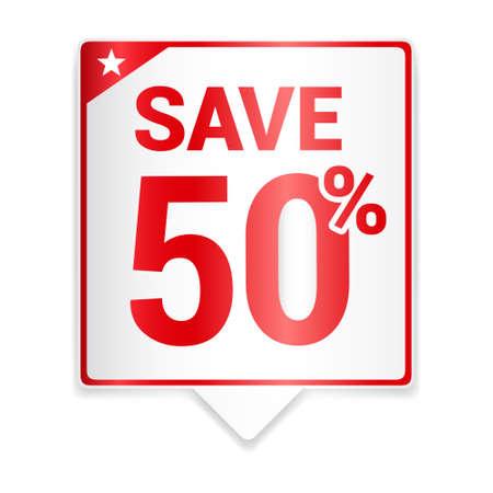 50: Save 50 Red Tag Illustration