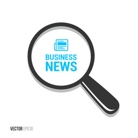 rolled newspaper: Business News Magnifying Glass Illustration