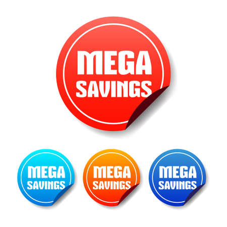 mega: Mega Savings Round Stickers Illustration