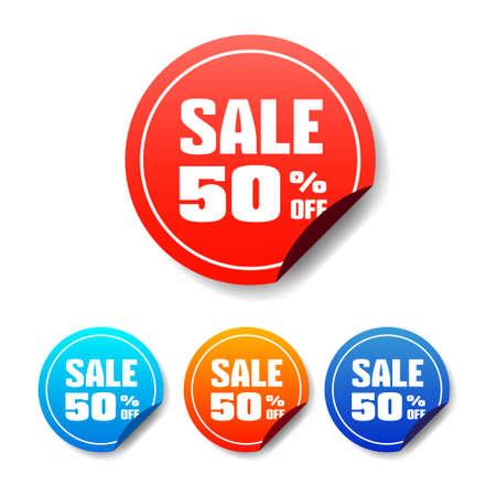 50: Sale 50 Off Round Stickers