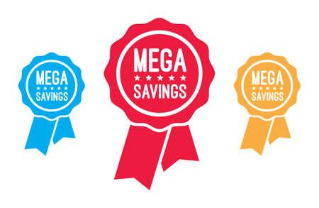 mega: Mega Savings Ribbons Illustration
