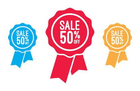 off on: Sale 50 Off Ribbons Illustration
