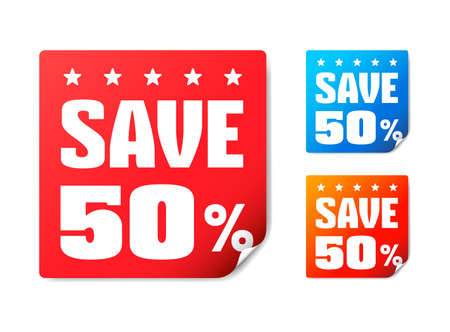 50: Save 50 Stickers Illustration