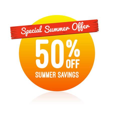 Special Summer Offer 50 Off Label Vetores