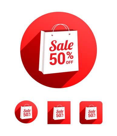 50  off: Sale 50% Off Shopping Bag Illustration