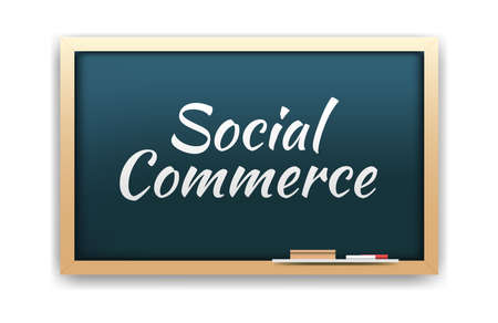 social commerce: Social Commerce Chalkboard Illustration