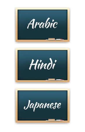 hindi: Arabic, Hindi & Japanese Language Chalkboard