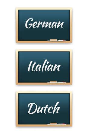 linguistics: German, Italian & Dutch Language Chalkboard