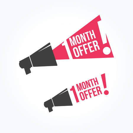 month: 1 Month Offer Megaphone Icon