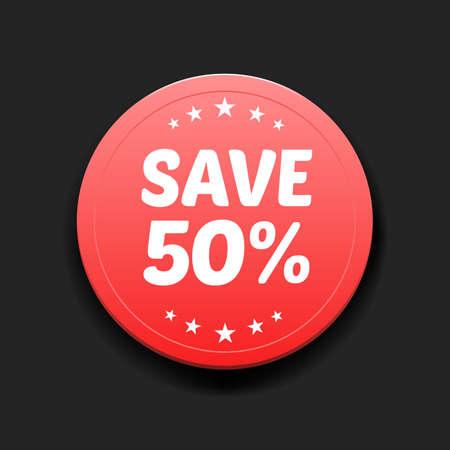 50: Save 50% Round Label
