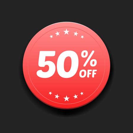 50: 50% Off Round Label
