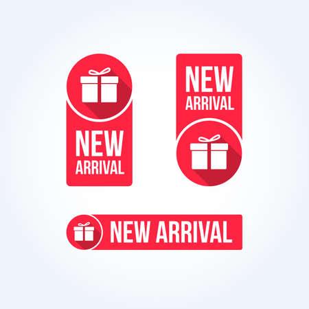 Nuevas etiquetas de llegada Ilustración de vector
