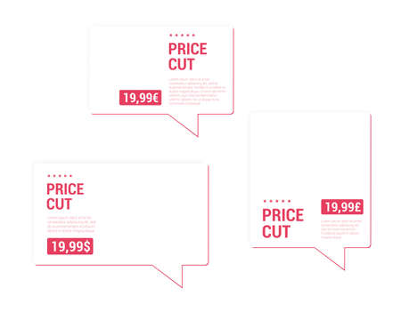 price cut: Price Cut Price Tags Illustration