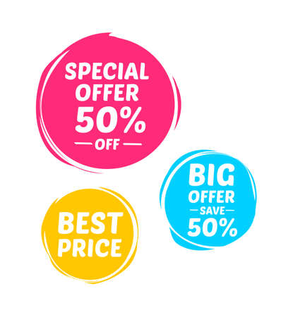 sale tags: Special Offer, Big Offer & Best Price Marks