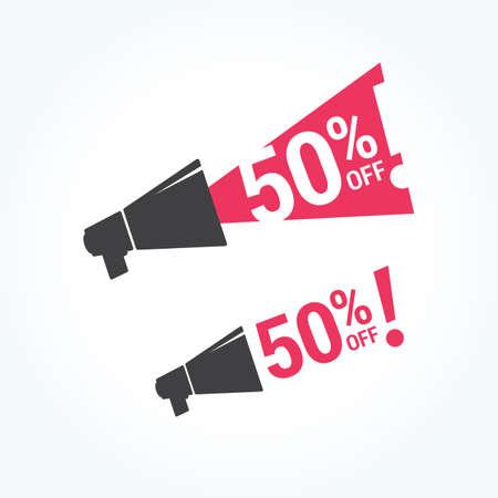 50 off: 50% Off Megaphone Icon