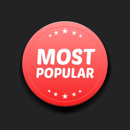most: Most Popular Round Label Illustration