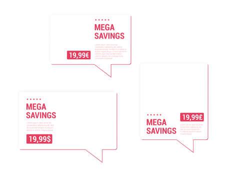 mega: Mega Savings Price Tags Illustration
