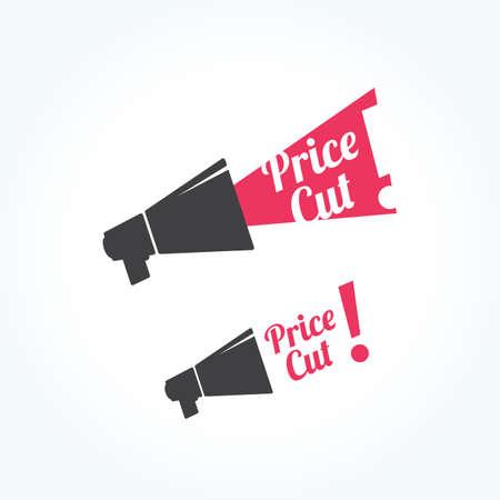 cut price: Price Cut Megaphone Icon Illustration