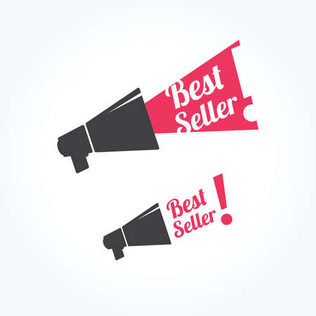 seller: Best Seller Megaphone Icon Illustration